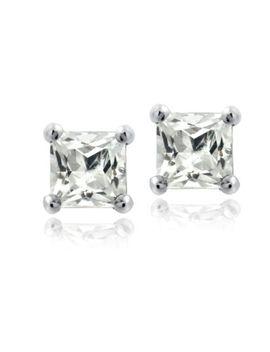 925-silver-15ct-white-topaz-square-stud-earrings,-5mm by ebay-seller