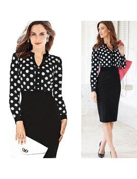 womens--polka-dot-wear-work-cocktail-party-sheath-pencil-formal-dress-083a by fashion