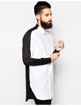 asos-oxford-shirt-in-super-longline-with-black-and-white-split-panel by asos