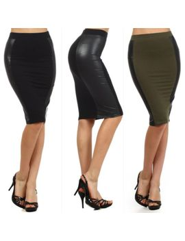 sexy-s-m-l-skirt-faux-leather-panel-high-waist-pencil-stretch-solid-black-olive by jersey-glam