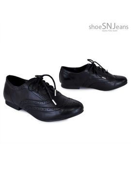 new-women-classic-faux-leather-loafers-casual-flats-lace-up-wingtip-oxford-shoes by breckelles