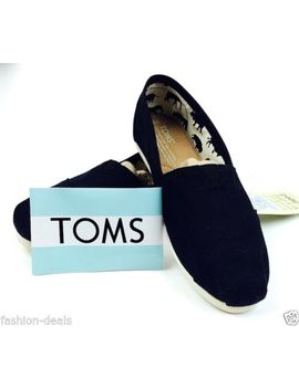 new-toms-womens-shoes-slip-on-flats-espadrilles-black-canvas-free-shoe-pouch by toms