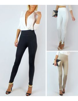 banded-sexy-high-waist-ponti-stretch-knit-slim-trousers-zipper-skinny-pants by fashion-dreams
