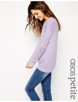 asos-petite-sweater-with-cat-elbow-patch by asos-petite