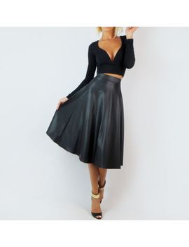 faux-leather-black-high-waist-bell-flare-a-line-long-calf-full-tea-midi-skirt-s by ebay-seller