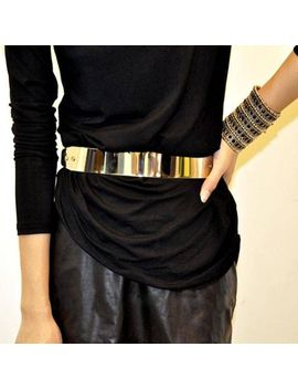 womens-full-metalllic-gold-plate-obi-band-chain-bling-metal-shiny-fashion-belt by unbranded