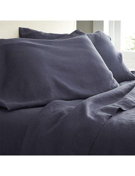 lino-dark-blue-linen-sheets-and-pillowcases by crate&barrel