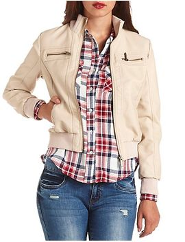 zip-up-faux-leather-bomber-jacket by charlotte-russe
