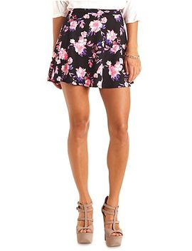 floral-print-high-waisted-skater-skirt by charlotte-russe