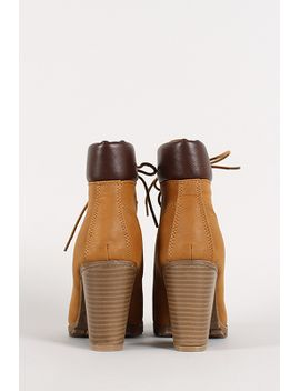 lace-up-chunky-heel-ankle-work-bootie by urbanog