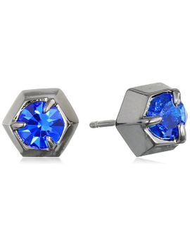rebecca-minkoff-hematite-glass-crystal-stud-earrings by rebecca-minkoff