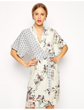 asos-pencil-dress-with-drape-top-in-floral-and-bird-print by asos-collection