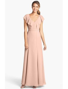 cecilia-ruffled-v-neck-chiffon-long-dress by jenny-yoo