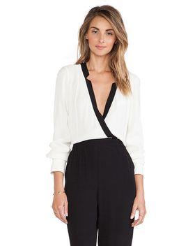 white-black-long-sleeve-v-neck-jumpsuit by sheinside