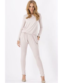 beige-round-neck-long-sleeve-jumpsuit by sheinside