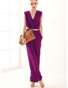 purple-sleeveless-vneck-belt-jumpsuit by sheinside