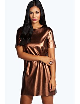 jess-metallic-pu-shift-dress by boohoo