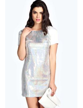 gemma-irredecent-sequin-contrast-shift-dress by boohoo