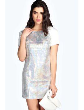 gemma-irredecent-sequin-contrast-shift-dress by boohoo