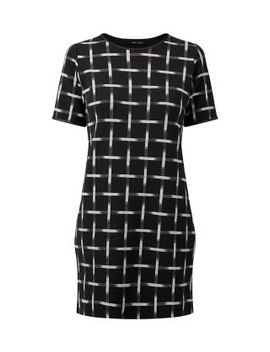 monochrome-scratch-check-tunic-dress by new-look