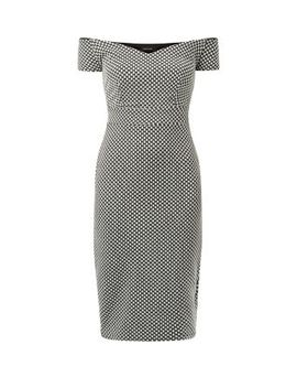 monochrome-spot-jacquard-bardot-neck-pencil-dress by new-look