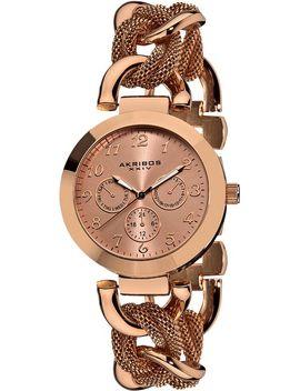akribos-xxiv-womens-ak564rg-multi-function-mesh-link-bracelet-watch by akribos-xxiv