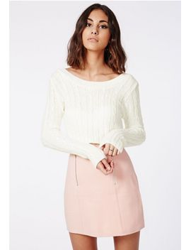 aqsa-cable-crop-jumper-cream by missguided