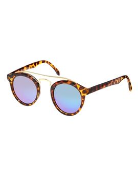 asos-round-sunglasses-with-metal-bridge-high-bar-and-flash-lens by asos-collection
