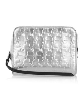 the-outnetkache-metallic-embossed-leather-cosmetics-case by karl-lagerfeld