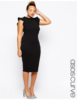 asos-curve-body-conscious-dress-with-frill-sleeve by asos-curve
