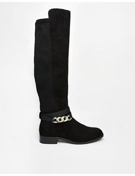river-island-fetchup-chain-detail-stretch-knee-boots by river-island