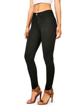 new-womens-forever-black-high-rise-skinny-jeans-high-waist-stretch-vibrant-pants by vibrant