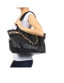 nwt-black-high-fashion-gold-accent-purse-tote-large-beach-shoulder-travel-bag by fashion-twenty
