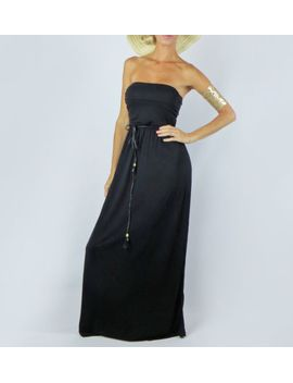 black-long-maxi-casual-soft-knit-ruched-empire-waist-strapless-sun-dress-s by ebay-seller