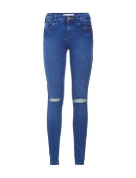 blue-ripped-knee-super-skinny-jeans by new-look