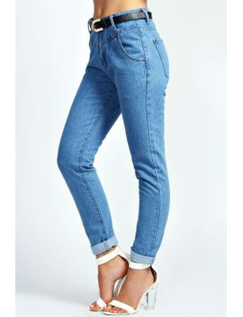 hana-deep-waist-belted-denim-boyfriend-jeans by boohoo