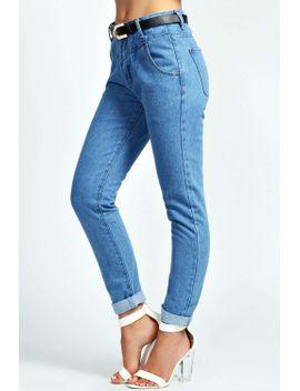 hana-deep-waist-belted-denim-boyfriend-jeans by boohoo