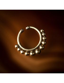 tribal-fake-brass-septum-ring-with-flat-dots,faux-septum-rings,clip-on-septums-(code-8) by tribalik