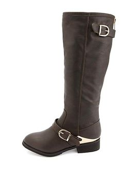 gold-plated-back-zipper-belted-riding-boots by charlotte-russe