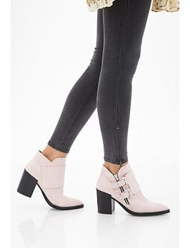 buckled-faux-suede-booties by forever-21