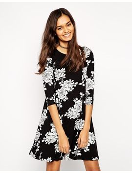asos-swing-dress-in-mono-floral-with-3_4-length-sleeves by asos-collection