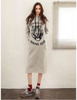 gray-tiger-print-hooded-shift-dress by choies