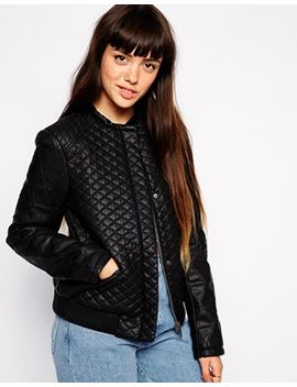 asos-leather-look-bomber-jacket-in-quilt by asos-collection