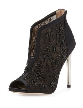 deedie-lace-mesh-peep-toe-ankle-bootie,-black by bcbgmaxazria