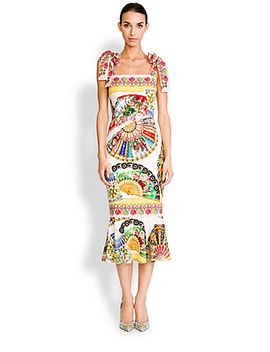 tie-shoulder-foulard-print-dress by dolce-&-gabbana