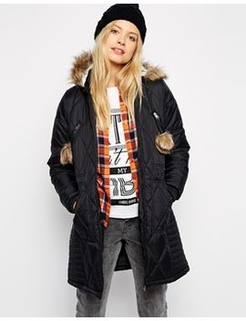 bellfield-diamond-padded-coat-with-pom-poms by bellfield