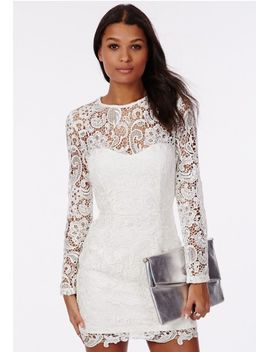 maja-white-lace-long-sleeve-dress-bandeau-insert by missguided
