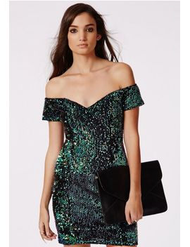 sara-sequin-bardot-multi-coloured-mini-dress by missguided