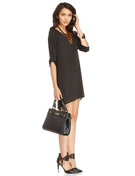 dailylook-button-sleeve-trapeze-dress by dl