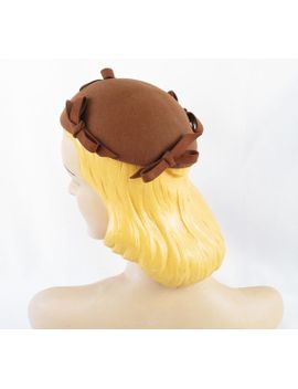 1940s-hat-brown-felt-sleek-toque-w_-bows-new-york-creation-sz-s by alleycatsvintage